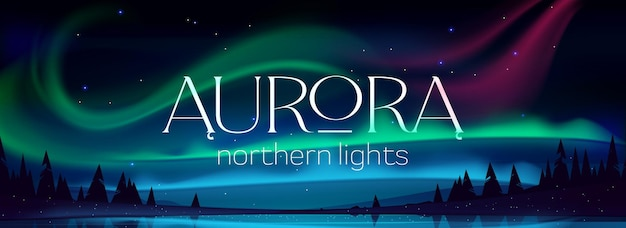 Aurora borealis banner, northern lights in arctic night sky with stars