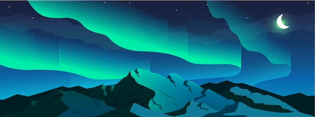 Aurora borealis phenomenon flat color illustration