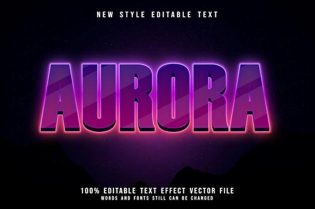 Aurora editable text effect 3 dimension emboss modern neon style