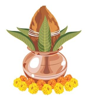 푸자를 위해 배열된 코코넛 꽃과 잎이 있는 상서로운 구리 칼라쉬