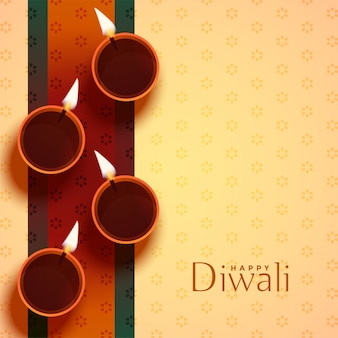Auspicious happy diwali diya lamp decoration