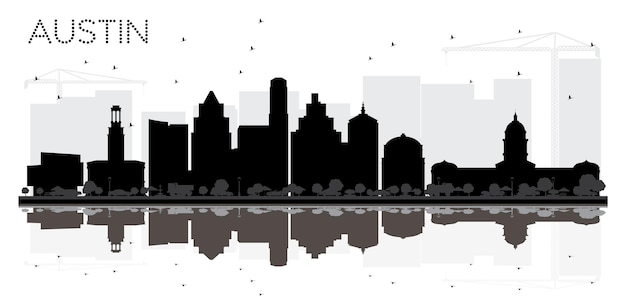 Остин техас-сити горизонт черно-белый силуэт с отражениями. векторная иллюстрация. простая плоская концепция для туристической презентации, баннера, плаката или веб-сайта. городской пейзаж остина с достопримечательностями.