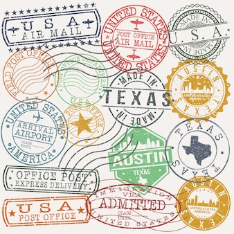 Austin texas set of travel and business stamps
