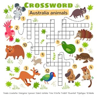 호주 동물 낱말. 미취학 아동 활동 워크시트용. 단어 찾기 퍼즐 게임을 건너는 어린이