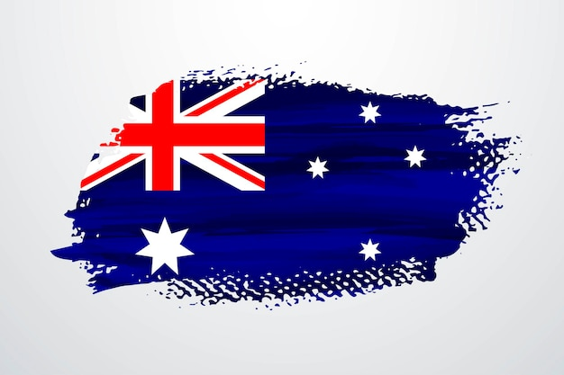 Australia brush paint flag