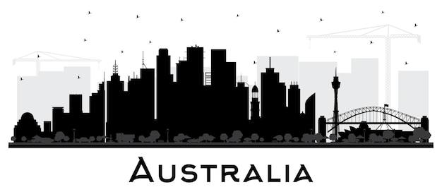 Силуэт горизонта города австралии с черными зданиями, изолированными на белом. векторные иллюстрации. концепция туризма с исторической архитектурой. городской пейзаж австралии с достопримечательностями. сидней. мельбурн.