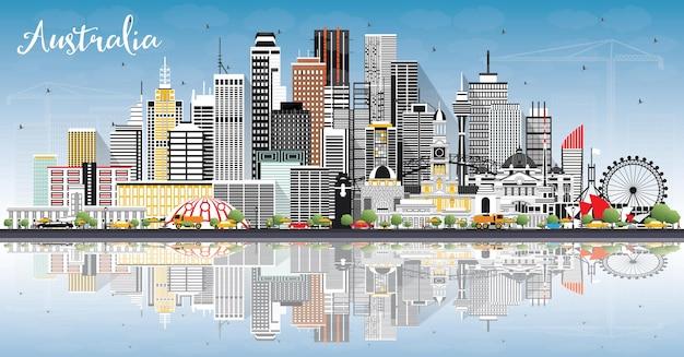 Горизонт города австралии с серыми зданиями, голубым небом и размышлениями. векторные иллюстрации. концепция туризма с исторической архитектурой. городской пейзаж австралии с достопримечательностями. сидней. мельбурн.