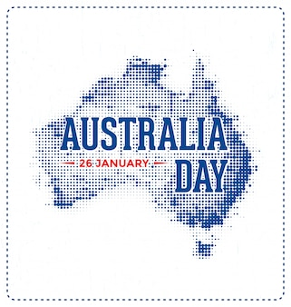 Australia day - 26 january - typographic design with halftone map