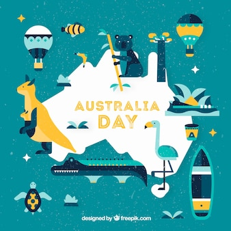 Australia day background with flat design illustration