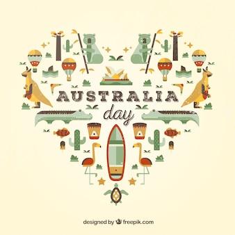 オーストラリアの日、フラットなデザインのイラスト