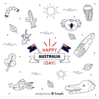 Australia day background with hand drawn elements