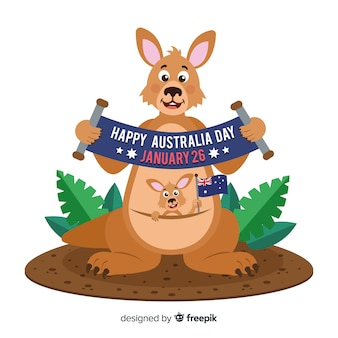 Australia day background with kangaroo