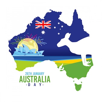 Australia day background with a kangaroo