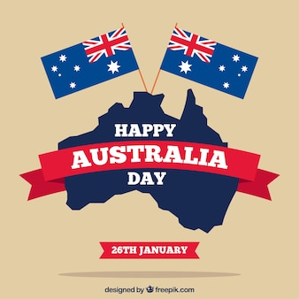 Australia giorno con due bandiere e mappa in design piatto