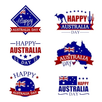 Australia day badges set.  happy australia day.map of australia with flag. vector illustra