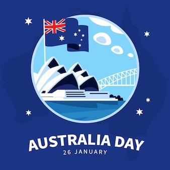 Australia day bridge illustration flat design