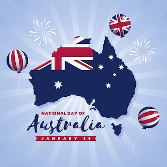 Australia day celebration with australian map