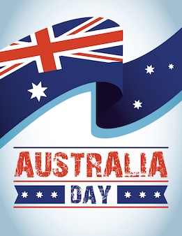 Australia day celebration with flag waving