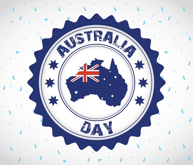 Australia day celebration with map in seal