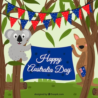 Australia day design with animals in eucalyptus trees
