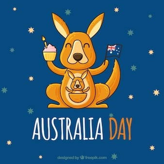 Australia day design with happy kangaroo