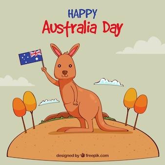 Design giorno australia con canguro nel deserto