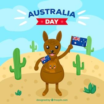 Дизайн в австралии с кенгуру в пустыне