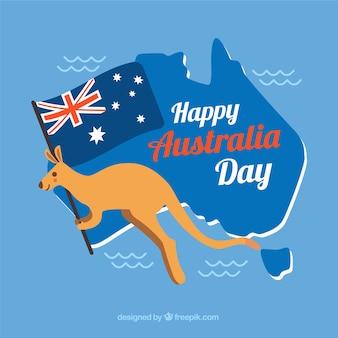 Australia day design with kangaroo on map