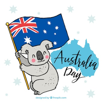 Australia day design with koala on flag