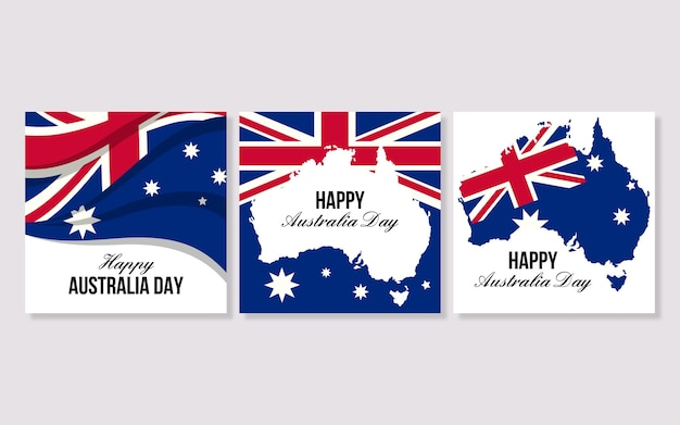 Australia day event greeting cards collection