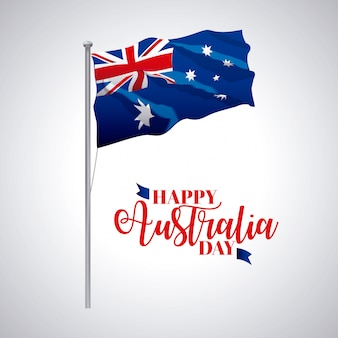 Australia day, flag wave flag celebrate date illustration