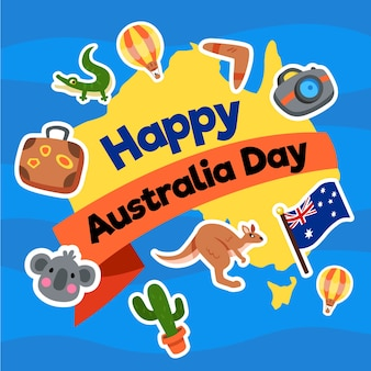 Australia day in flat design with map and animals