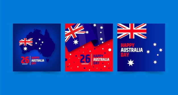 Australia day greeting cards pack