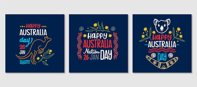 Australia day greeting cards set