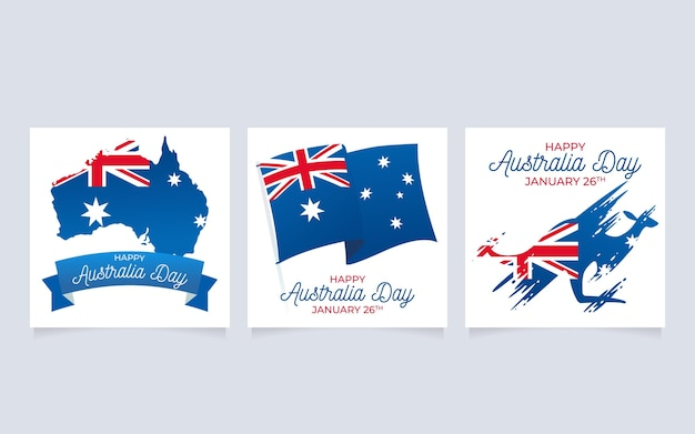 Australia day greeting cards template