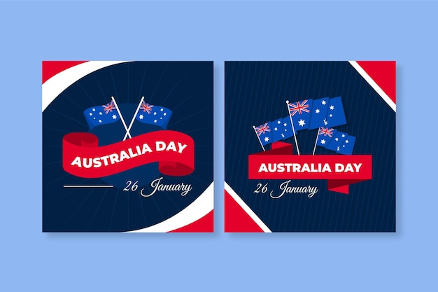 Australia day greeting cards with flags