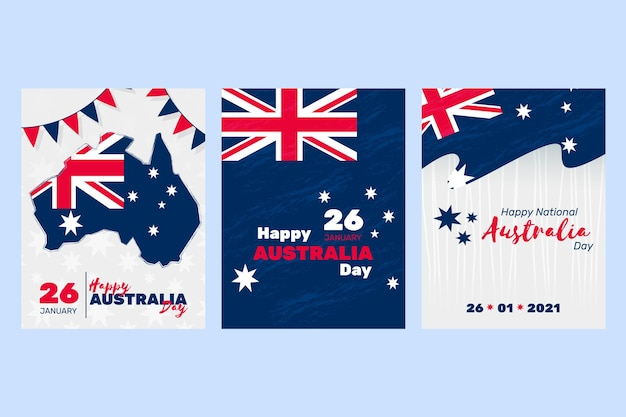 Australia day greeting cards Free Vector