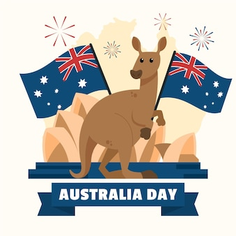 Australia day illustration kangaroo holding flag