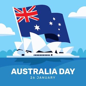 Illustrazione di giorno dell'australia con bandiera