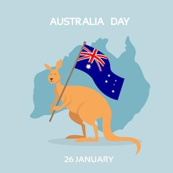 Australia day kangaroo flag national country map holiday