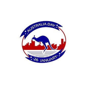 Australia day kangaroo stamp flag national holiday flat