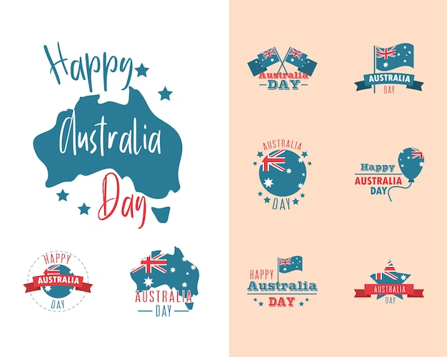 Australia day, lettering map flag national celebration icons set illustration