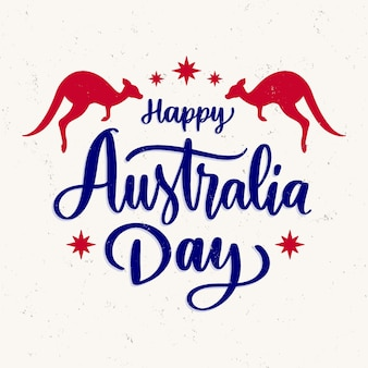 Australia day lettering with kangaroos
