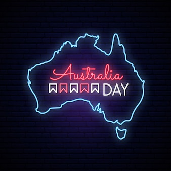 호주의 날 네온지도.
