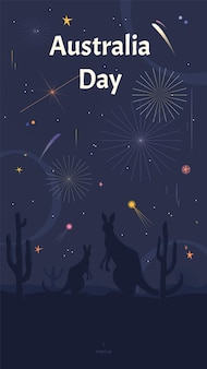 Australia day social media story template with kangaroos watching fireworks in a savannah.