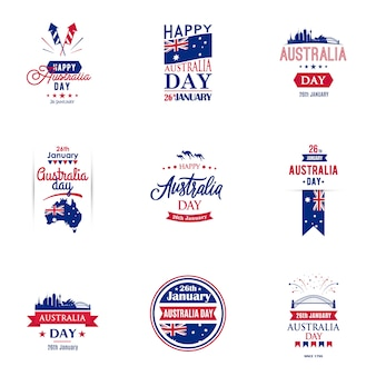 Australia day typography design collection for banners