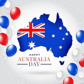 Australia day with australian map and balloons