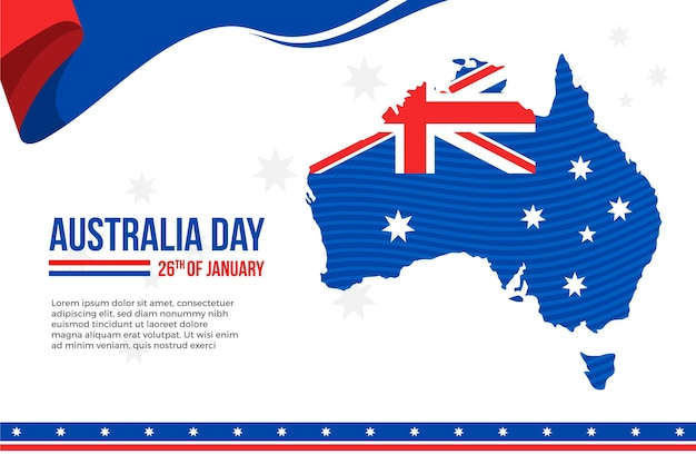 Australia day with flat design australian map
