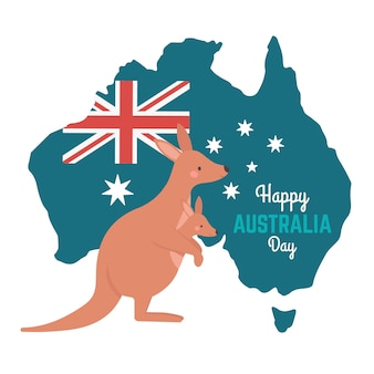 Australia day with kangaroo and map