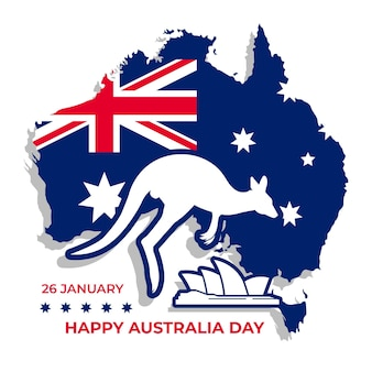 Australia day with kangaroo shape on map